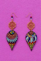 Art Wood Resin Dangle Earrings Handmade painting Mediterranean Jewelry G... - $20.79