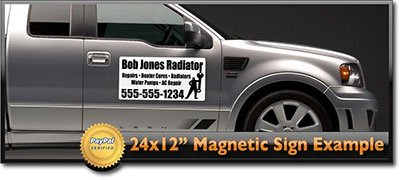 "24x12"" Custom Magnetic Signs- Set of 2 2 Color Car Magnets"