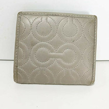 Coach Leather Wallet Small Bronze Quilted Logo 3 CC /ID Snap  Closure - $24.18