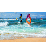 "Ho'okipa Beach Wind Surfers, Maui - 24"" x 36"" Stretched Canvas Print - S... - $199.00"