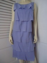 TALBOTS Ruffle Rumba Shift Dress 12 Periwinkle Blue Lined Sleeveless GOR... - $44.55