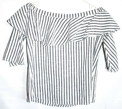 Miss Love T31687 White & Grey Pinstripe Off the Shoulder Shirt Top Size S