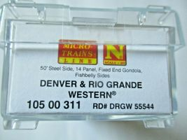 Micro-Trains # 10500311 Denver & Rio Grande Western 50' Steel Side Gondola (N) image 6