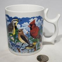 Spinners Coffee Mug Birds Talus Corp Goldfinch Cardinal Blue Bird Woodpecker EUC - $6.99