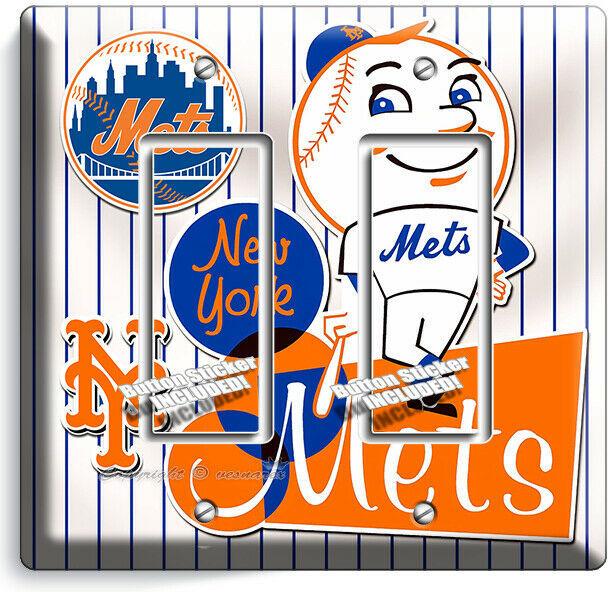 RETRO MR MET NEW YORK METS BASEBALL TEAM 2 GFI LIGHT SWITCH PLATE ROOM ART DECOR