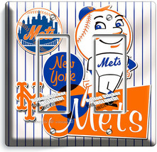 RETRO MR MET NEW YORK METS BASEBALL TEAM 2 GFI LIGHT SWITCH PLATE ROOM A... - $12.99