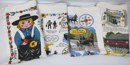 4 Vtg Printed Linen Kitchen Towels PA Dutch Amish Sayings Boy Doll Kay Dee  - $29.69