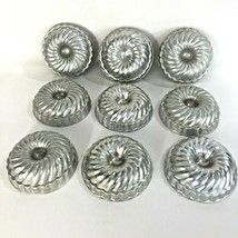 9 Aluminum Swirl Molds Jello Metal Tins Pastry Baking Tart Mini Bundt Ca... - $9.85