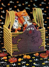 Plastic Canvas Halloween Pumpkin Picture Candle Monster Basket Tote Bag Pattern - $6.99