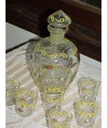 Hand Painted Daisy Glass Cordial Decanter Set & 6 Glasses Czechoslovakia... - $49.49