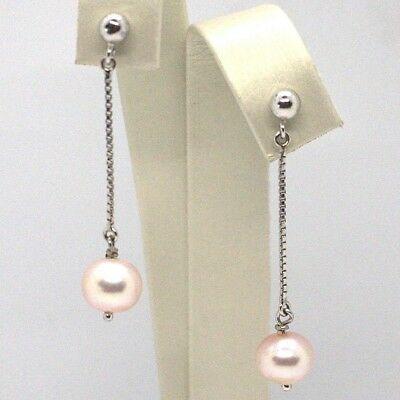 Drop Earrings White Gold 18K, Chain Venetian, Pearl Purple 8 mm, Gold 750