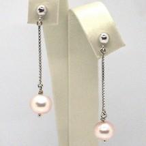 Drop Earrings White Gold 18K, Chain Venetian, Pearl Purple 8 mm, Gold 750 image 1