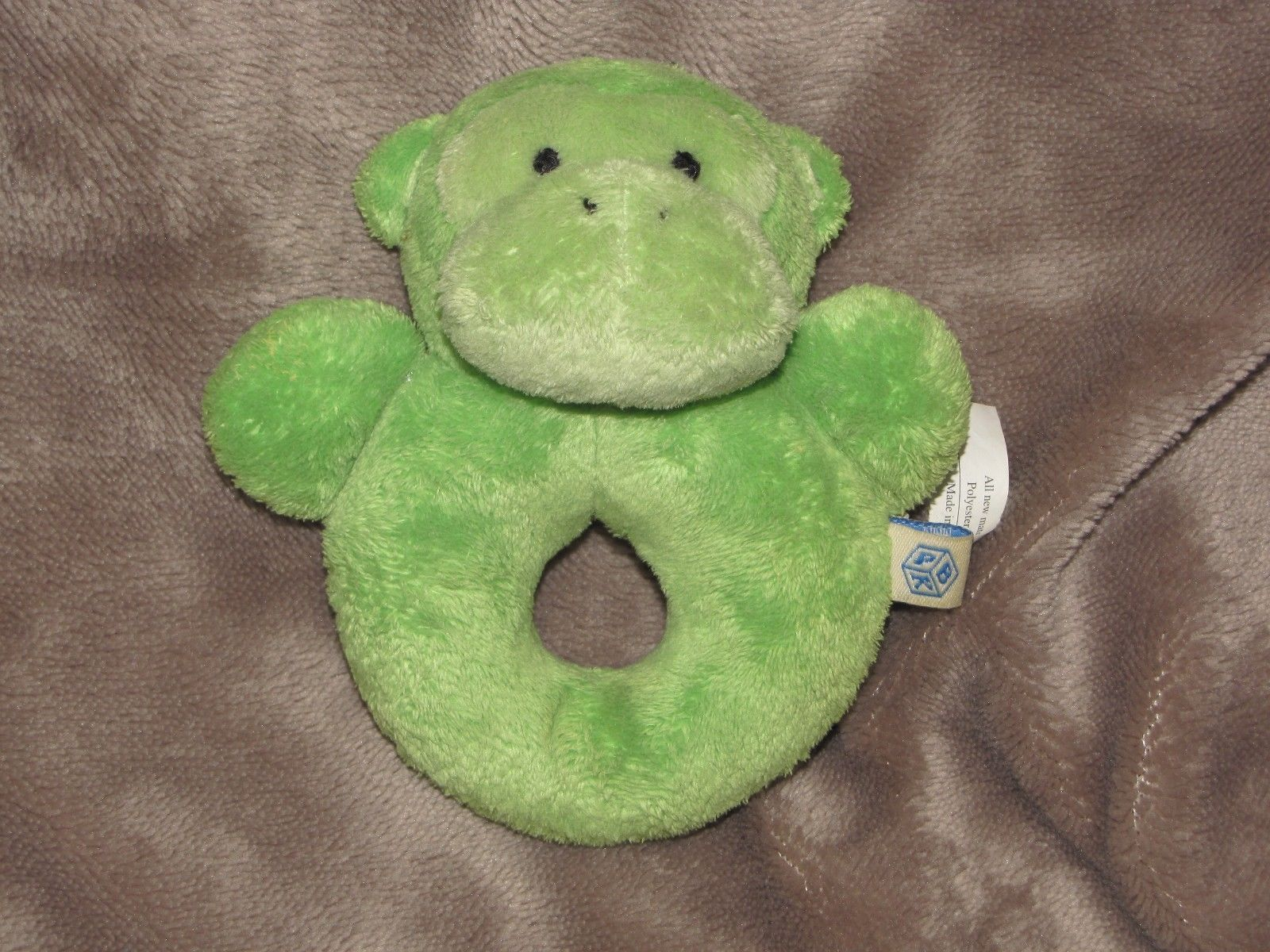 Primary image for POTTERY BARN KIDS STUFFED PLUSH BABY RING RATTLE GREEN MONKEY CHAMOIS TOY