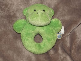 POTTERY BARN KIDS STUFFED PLUSH BABY RING RATTLE GREEN MONKEY CHAMOIS TOY - $19.79