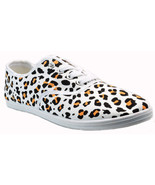 Womens Leopard Animal Print White Canvas Lace Up Sneakers Plimsoll Tenni... - $20.99