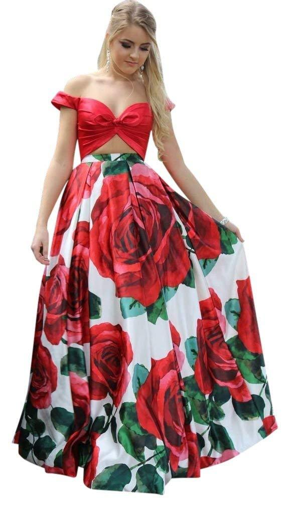 Primary image for Womens Floral Print 2 Pieces Prom Dresses Off Shoulder Evening Gowns Party Gowns