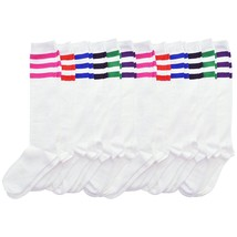 Angelina 6 Pair Package Girls Kids Toddler Referee Knee High Socks White 2539WS