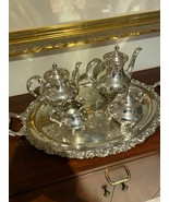 Vintage Reed & Barton Regent 5600 Silver Plate Tea set with Tray - 4 pieces - $297.00