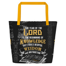 Proverbs 1:7 Bible Scripture Beach Bag - $35.50