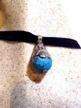 Bronze Vintage Repos Véritable Tibet à Facettes Turquoise Collier Ras Du... - $44.55
