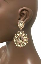 "3.25"" Long Cluster Clip On Earrings, BEIGE Rhinestones, Drag Queen, Pageant - $17.05"