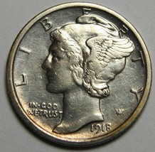 1918 Mercury Silver Dime 10¢ Coin Lot# EA 22