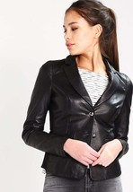 New Women's  Genuine Soft Lambskin Leather Fit Motorcycle  Biker Jacket -57