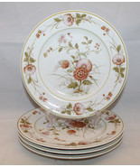 Noritake Versatone Hofgarten 4 Salad Plates Set Japan Pink Flowers Discontinued - $50.57