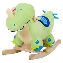 Qaba Kids Plush Ride-On Rocking Horse Toy Dinosaur Ride on Rocker - Gree... - $63.19