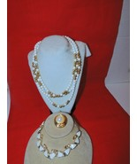 VTG 3 STRAND Bead Necklace& White Thermoset Necklace w/Gold tone scarf s... - $9.46