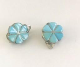 Vintage Turquoise Inlay Flower Silver Stud Earrings J6693 - $28.49