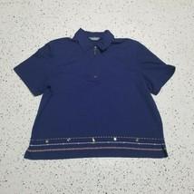 Women's Koret Polo Shirt ~ Sz XL ~ Navy Blue ~ Sailor Charms - $12.86