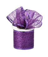 Pack of 5 Tulle Glitter Mesh Wrap Ribbon Roll 2.5 inch x 10 Yard, Purple - $24.70