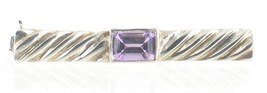 "VINTAGE STERLING ROPE TURNED 3/4ct EMERALD CUT AMETHYST OVAL PIN 1.5"" W - $67.49"