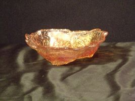 Amber leaf triangular Carnival Glass Vintage image 3