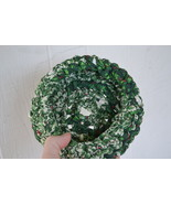 Handmade Christmas Basket Bowl, Green with Holly's (recycled material) R... - $4.69