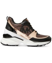 Michael Kors MK Women's Mickey Trainer Wedge Sneakers Shoes Rose Gold image 2