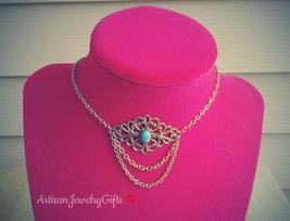 Gold Filigree Choker Necklace Boho Choker Turquoise Gem Choker Necklace - $66.00