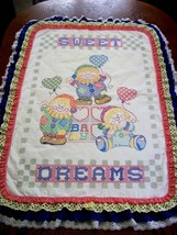 "COMPLETED & QUILTED ""CLOWN STACK"" Cross stitch Baby Quilt/ Crib Cover  - $159.99"