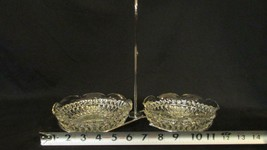 2 Indiana Glass Diamond Point Clear Nappy Dishes with Chrome Carrier or Holder - $7.59