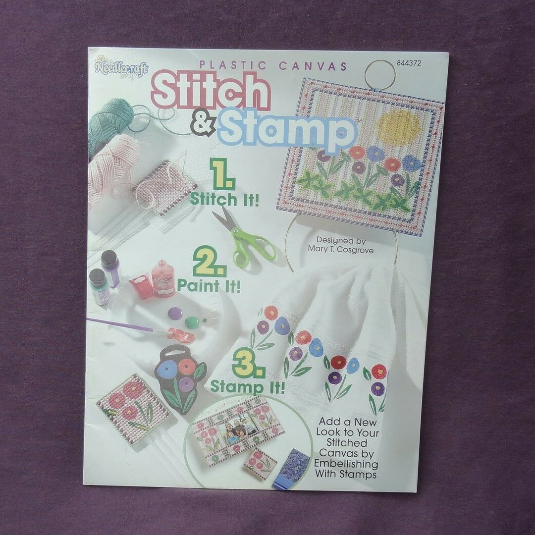 Plastic Canvas Stitch and Stamp 2004 Star Tote Coaster Holder Tissue Cover - $4.95