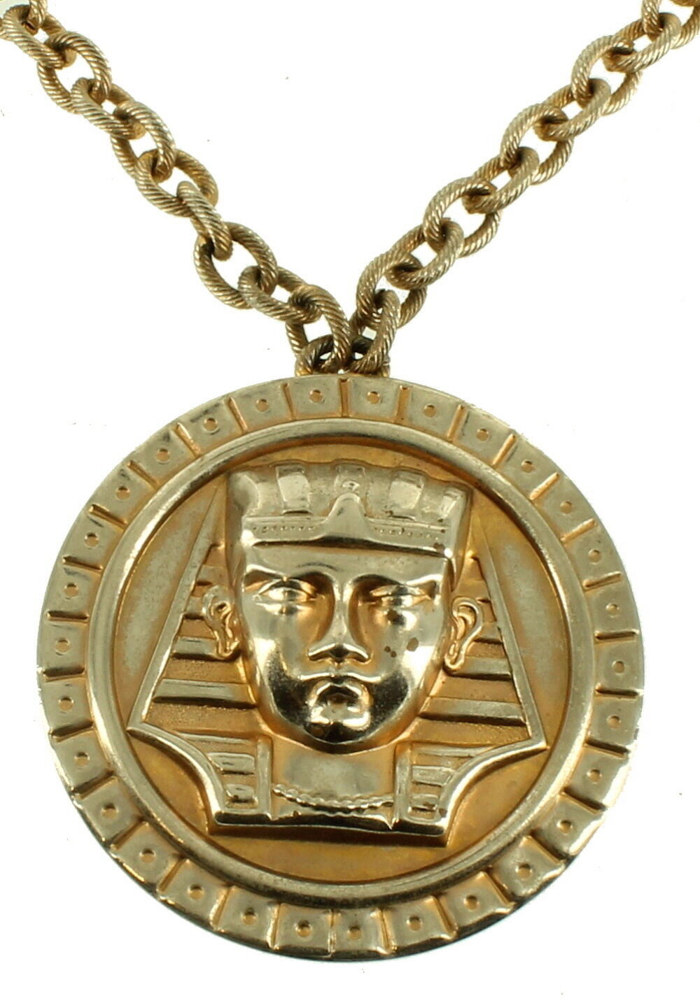 "VINTAGE 1970'S KING TUT PHARAOH LARGE MEDALLION W/ RIBBED CHAIN STRIKING 20"" - $80.99"