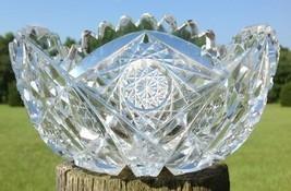 "American Brilliant Cut Glass Bowl 7"" ABP Double Brunswick Star Sawtooth Rim Dmg - $99.95"