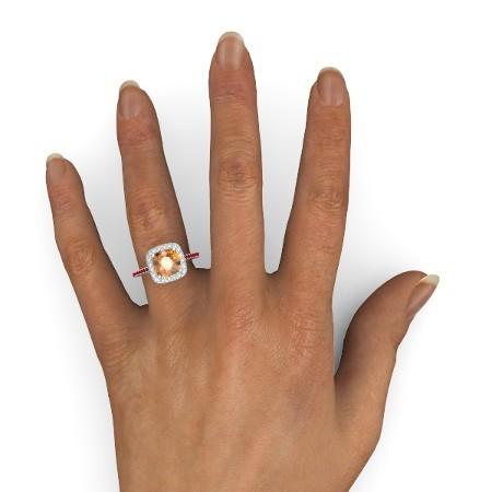 Red, Orange Diamond Halo Design Womens Anniversary Ring In Solid 10k White Gold