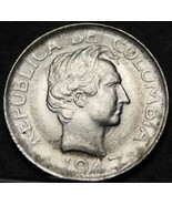 Colombia 10 Centavos, 1947 Silver Unc~Free Shipping - $15.67