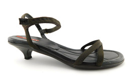 PRADA Size 7.5 Brown Nylon Ank;e Strap Kitten Heel Sandals Shoes 37 1/2 - $74.00