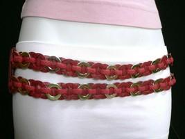 Femme Hip Taille Élastique Deux Rangs Argent Anneaux Métal Rouge Mode Ceinture image 1