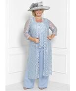 Chic Pantsuit Lace & Chiffon Mother Of The Bride W/Detachable Coat  - $172.00