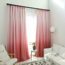 High shading gradient blue green pink orange yellow color Cloth Curtain+... - $170.90