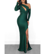 Maxi Length Evening Gown - Satin Finish / Diagonal Neckline Party Dress - $25.00